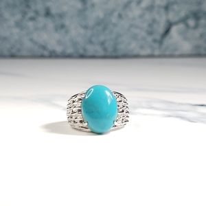 (📽) Turquoise & White Topaz Sterling Silver Ring